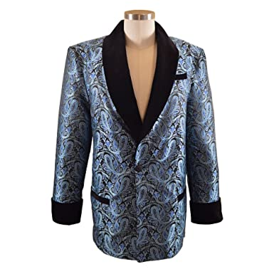 Smoky Joes Clothing Mens Tealblack Paisley Smoking Jacket At