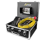 Sewer Camera,Anysun 50m/164ft Drain Pipe Inspection Cameras-Snake Cam Video Inspection Camera With 7 Inches LCD Monitor(Include 8GB SD Card) (Color: Black & Yellow, Tamaño: 50M/165FT)