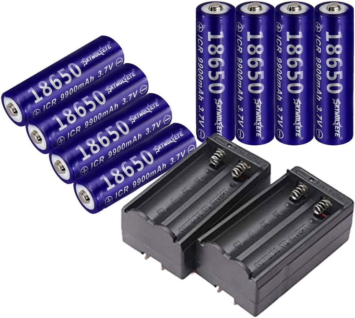 4 PCS of Deep Blue,18650-Rechargeable-Batteries,9900mAh 3.7V Li-ion,Button Top,65mmX18mm,With 2 PCS Dual Smart Battery Charger,For 18650 Flashlight headlight & Electronic Tools