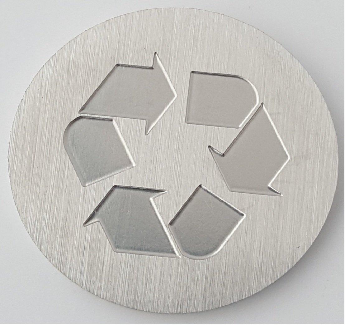 Recycle Logo -Brushed Aluminum Medallion - 1-1/2'' Diameter, 1/8'' Thick