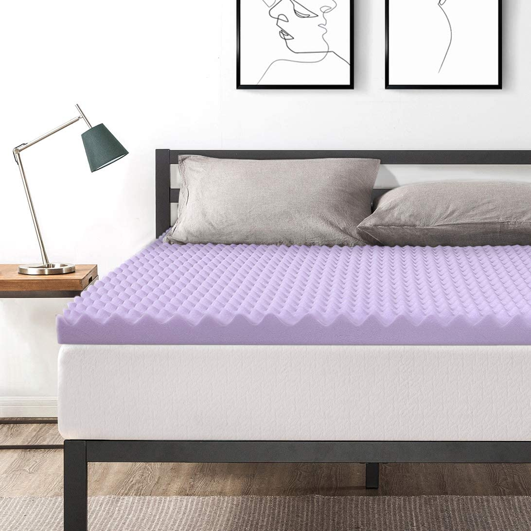 Best Price Mattress King Mattress Topper – 3 Inch Egg Crate Memory Foam Bed Topper with Lavender Cooling Mattress Pad, King Size