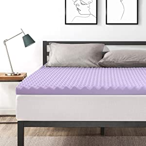 Best Price Mattress Full 3 Inch Egg Crate Memory Foam Bed Topper with with Lavender Cooling Mattress Pad,