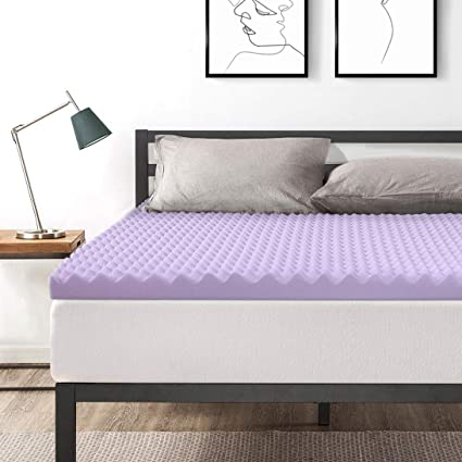94d042b24ab Amazon.com  Best Price Mattress Queen 3 Inch Egg Crate Memory Foam Bed  Topper with Lavender Cooling Mattress Pad  Kitchen   Dining