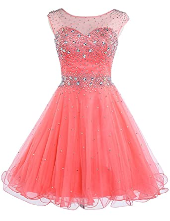 Ruolai Beded Tulle Short Prom Dress Sweetheart Holeback Homecoming Dress Coral 2