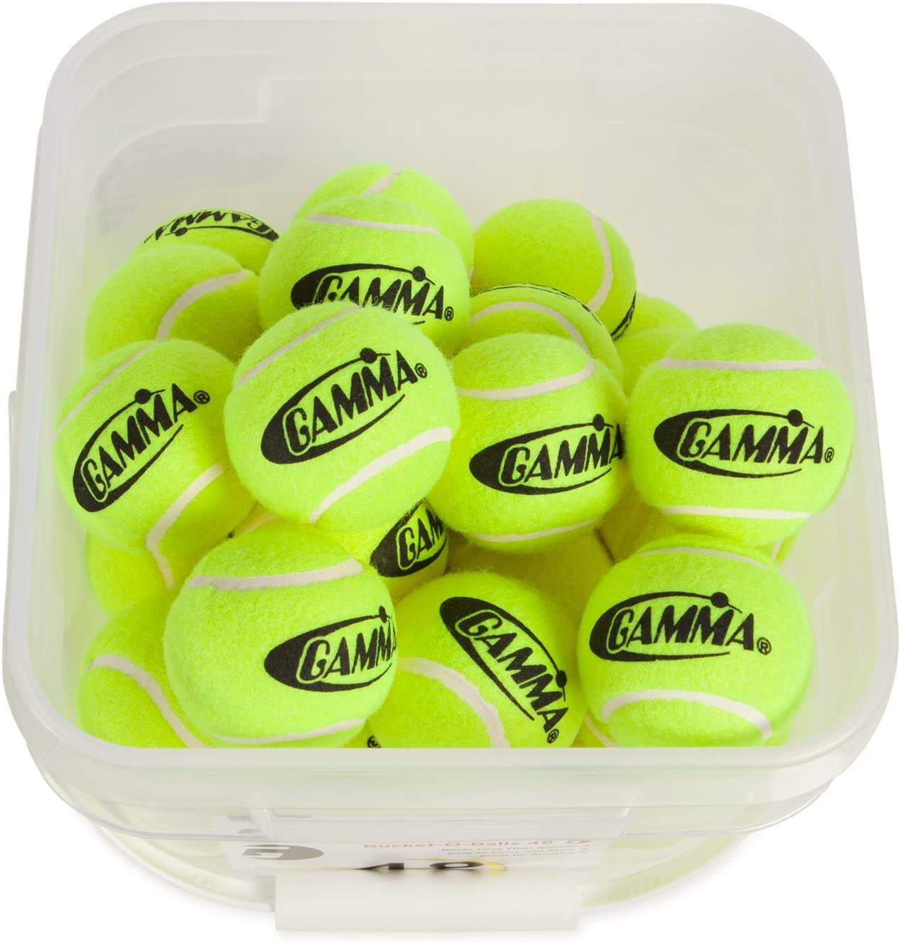 GAMMA Pressureless Tennis Ball Bucket| Case w/48 Practice Balls| Sturdy/Reusable/Portable Bucket to Replace Less Durable Tennis Mesh Bags| Ideal For All Court Types| Gamma Premium Tennis Accessories : Tennis Balls : Sports & Outdoors