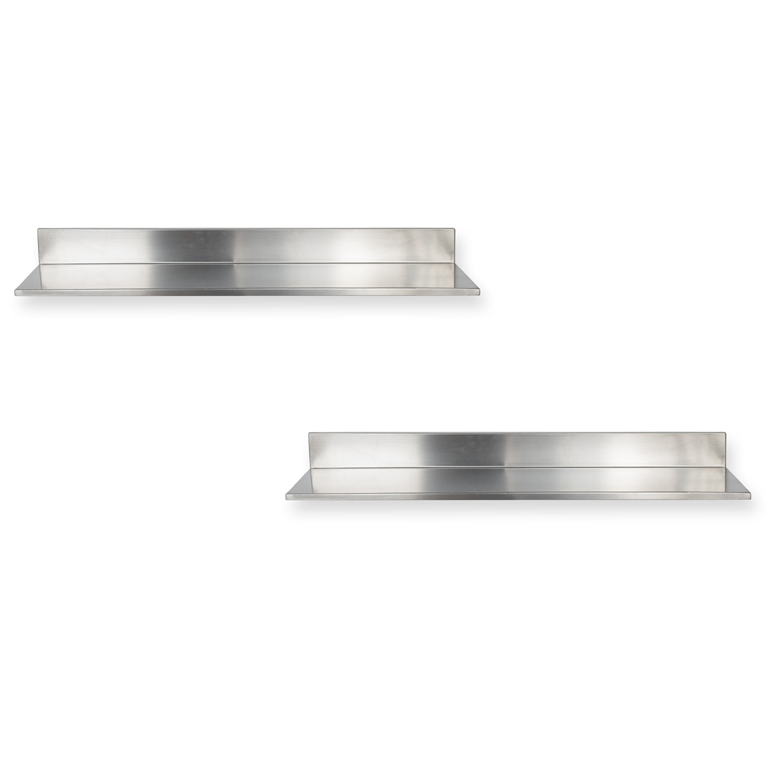 Stainless Steel Wall Mount Commercial and Home Use Premium Quality 30.50 Inches Kitchen Floating Shelves Set of 2 Silver by Fasthomegoods (Image #4)