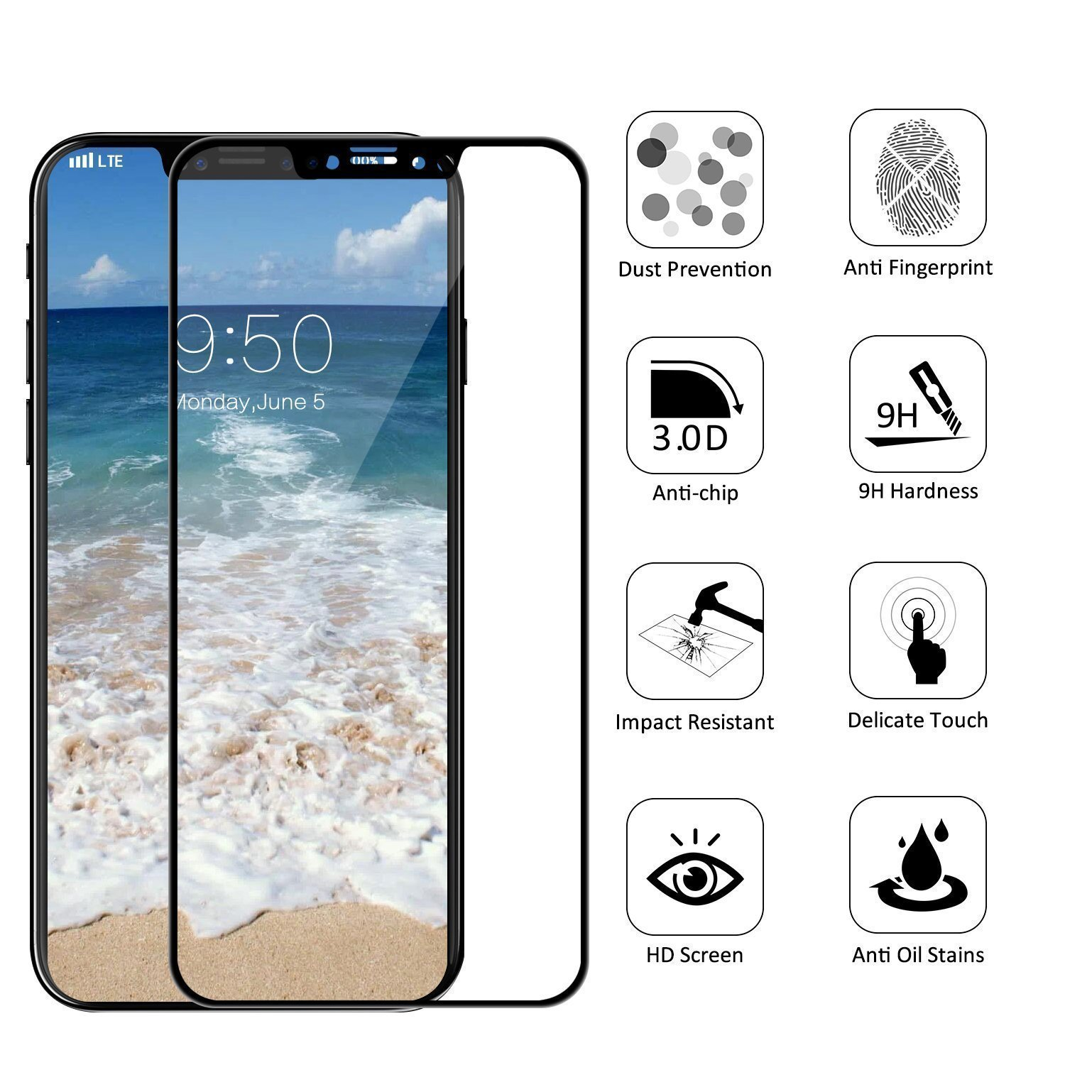 Amazon Tempered Glass iPhone X Screen Protector [3D Full Coverage] Anti Scratch HD Clear 9H Shockproof Protection iPhone 10 Tempered Glass iPhone X