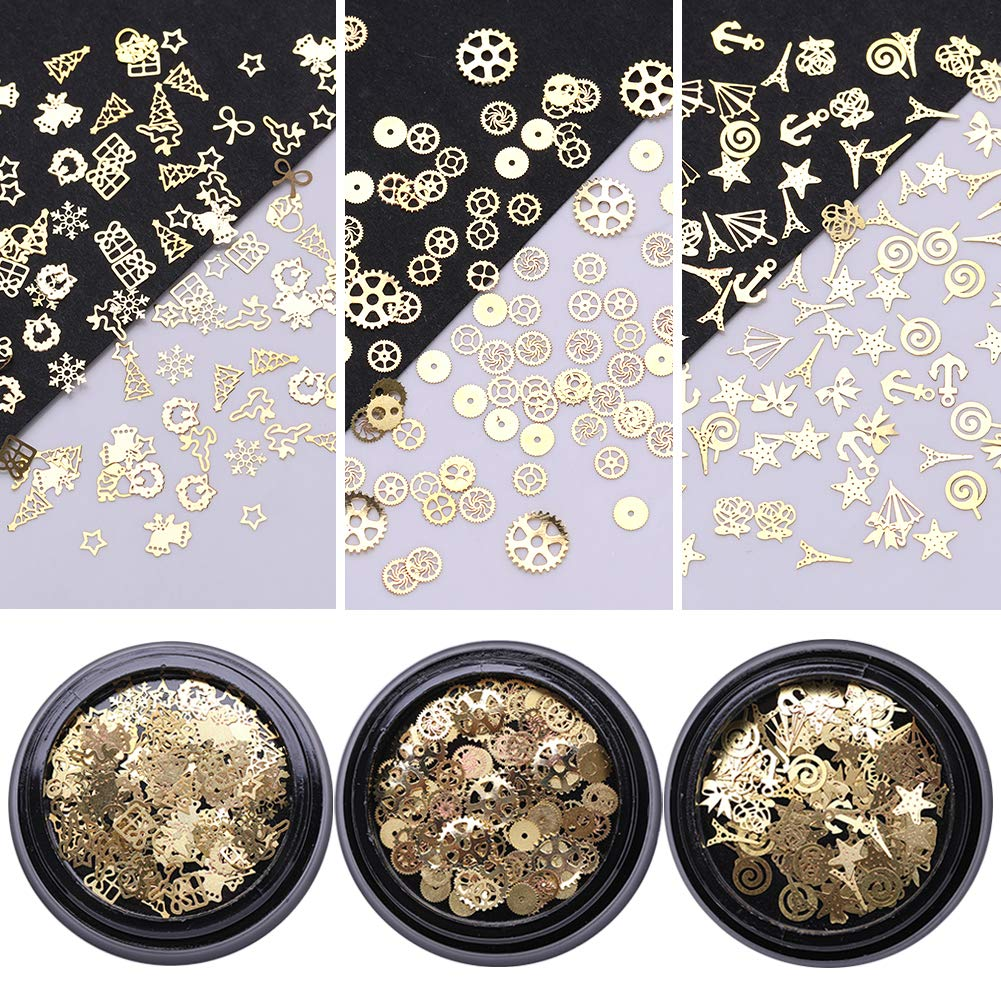 NICOLE DIARY Glitter Nail Rivet Studs Kit Gold Metallic 3D Nail Charms Leaves Shell Snowflake Gear Star Tower Designs Nail Sticker Tips DIY Manicure Nail Art Decoration 3 Boxes (3 Patterns)
