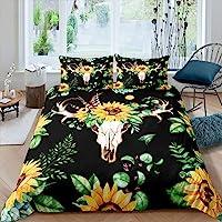 Feelyou Bull Skull Bedding Set Sunflower Duvet Cover Set Full Botanical Branches Comforter Cover for Kids Women Adults…