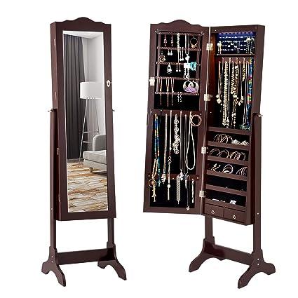 amazon com giantex jewelry armoire cabinet organizer with cheval rh amazon com  standing mirror jewelry boxes