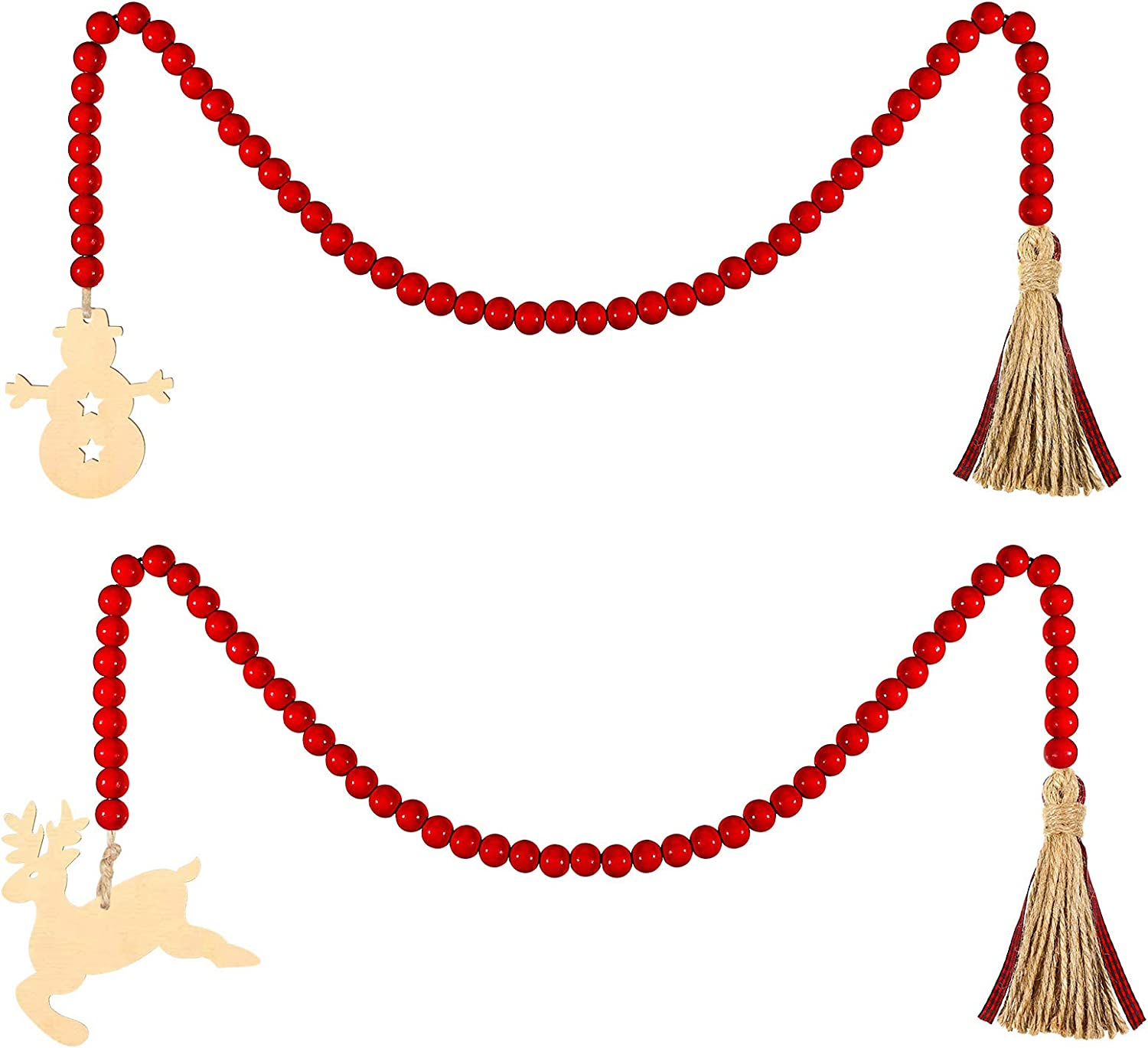 Christmas Wooden Beads Garland with Tassels, Christmas Snowman and Elk, Red Wooden Beads Hanging Garland Rustic Farmhouse Beads with Buffalo Plaid Tassels for Wall Hanging Home Ornaments