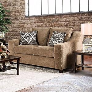 Furniture of America Sullivan Mocha Upholstered Loveseat