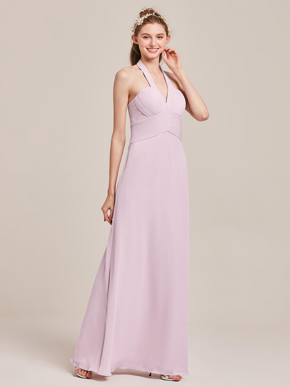 6fda990f3b8 Alicepub V-Neck Halter Bridesmaid Maxi Dresses for Women Long Chiffon Formal  Evening Party Prom