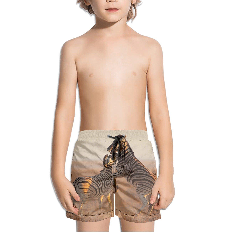 Wild Animal Zebra Kids Boys Fast Drying Beach Swim Trunks Pants
