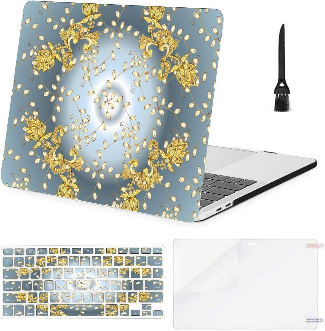A1932 Plastic Case Keyboard Cover /& Screen Protector /& Keyboard Touch ID MacBook Pro Case Traditional Orient Ornament Classic Neutral MacBook Air 13