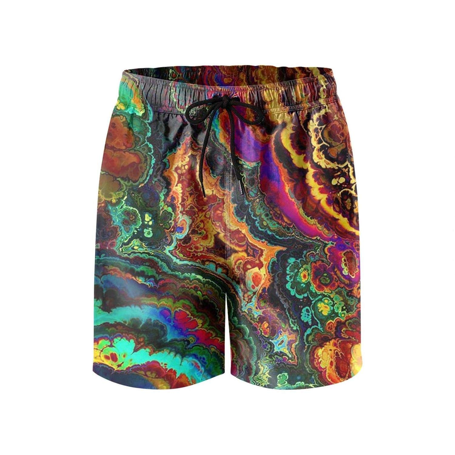 Mens Guys Colorful Trippy Psychedelic Beach Pants Quick Dry Classic