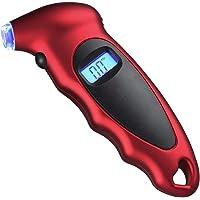 Medidor Digital de Presión Neumáticos, Manómetro Digital Medidor con Pantalla Iluminada LCD, 150 PSI 4 Ajustes, Luz LED Boquilla, Herramienta Manual de Automóviles, Motocicletas, Bicicletas (Rojo)