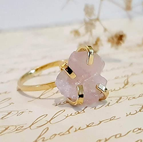 free shipping rose quartz engagement ring Rose quartz solitaire sterling silver ring satin silver finish made to order