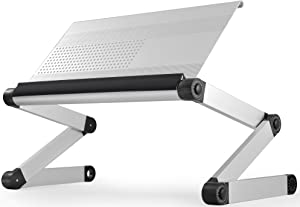 WorkEZ Executive Adjustable Height & Angle Ergonomic Aluminum Laptop Cooling Stand, Multifunctional Lap Desk, Folding Portable Reading & Monitor Riser