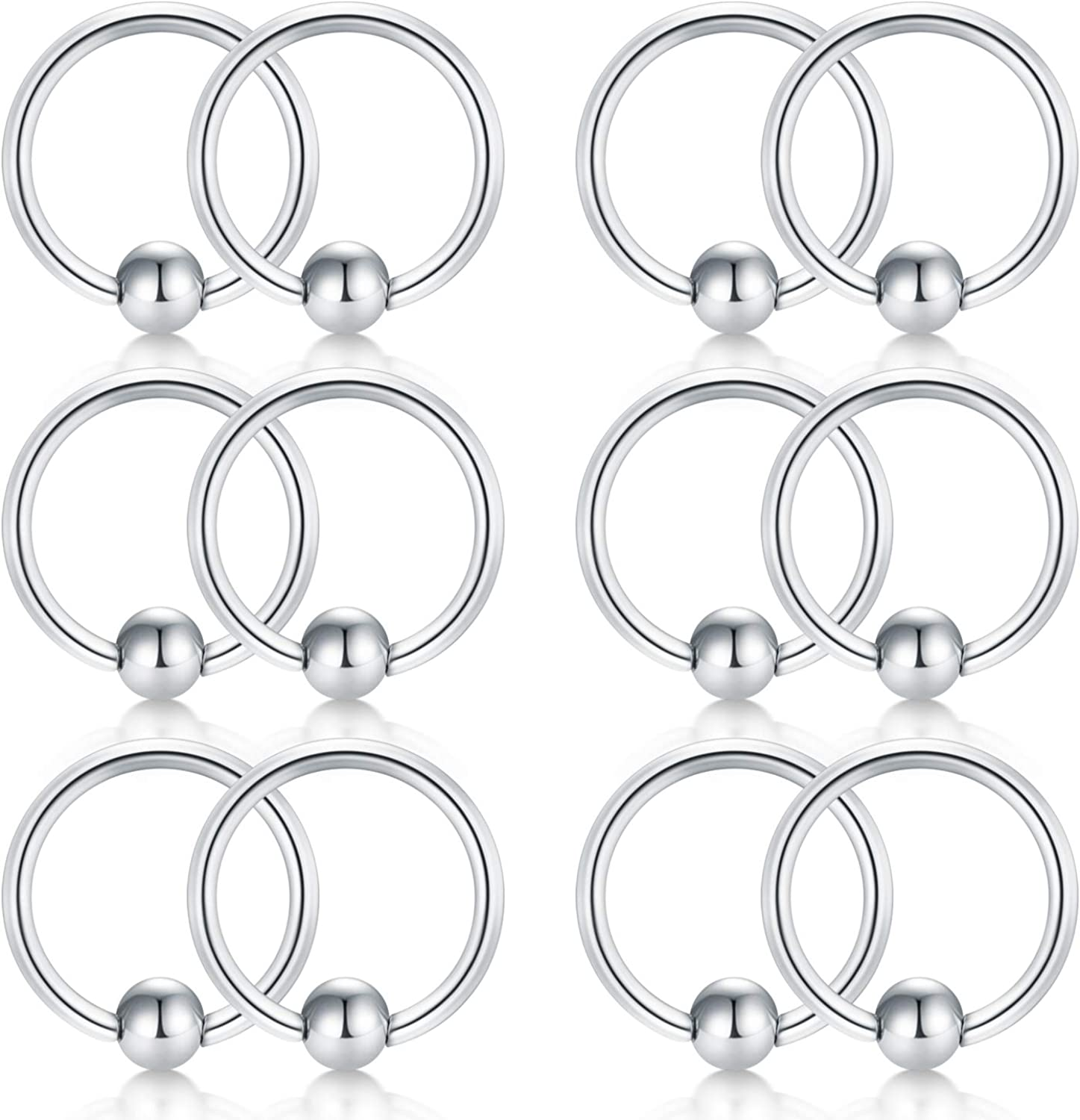 18g 20g 8mm 10mm 316l Surgical Steel Lip Eyebrow Tongue Helix Tragus Septum Nose Piercing Ring