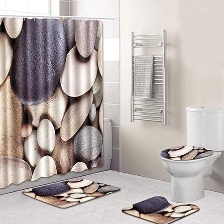 4Pcs//Set salle de bain Antidérapant Tapis Douche Tapis de Bain abattant de WC Housse