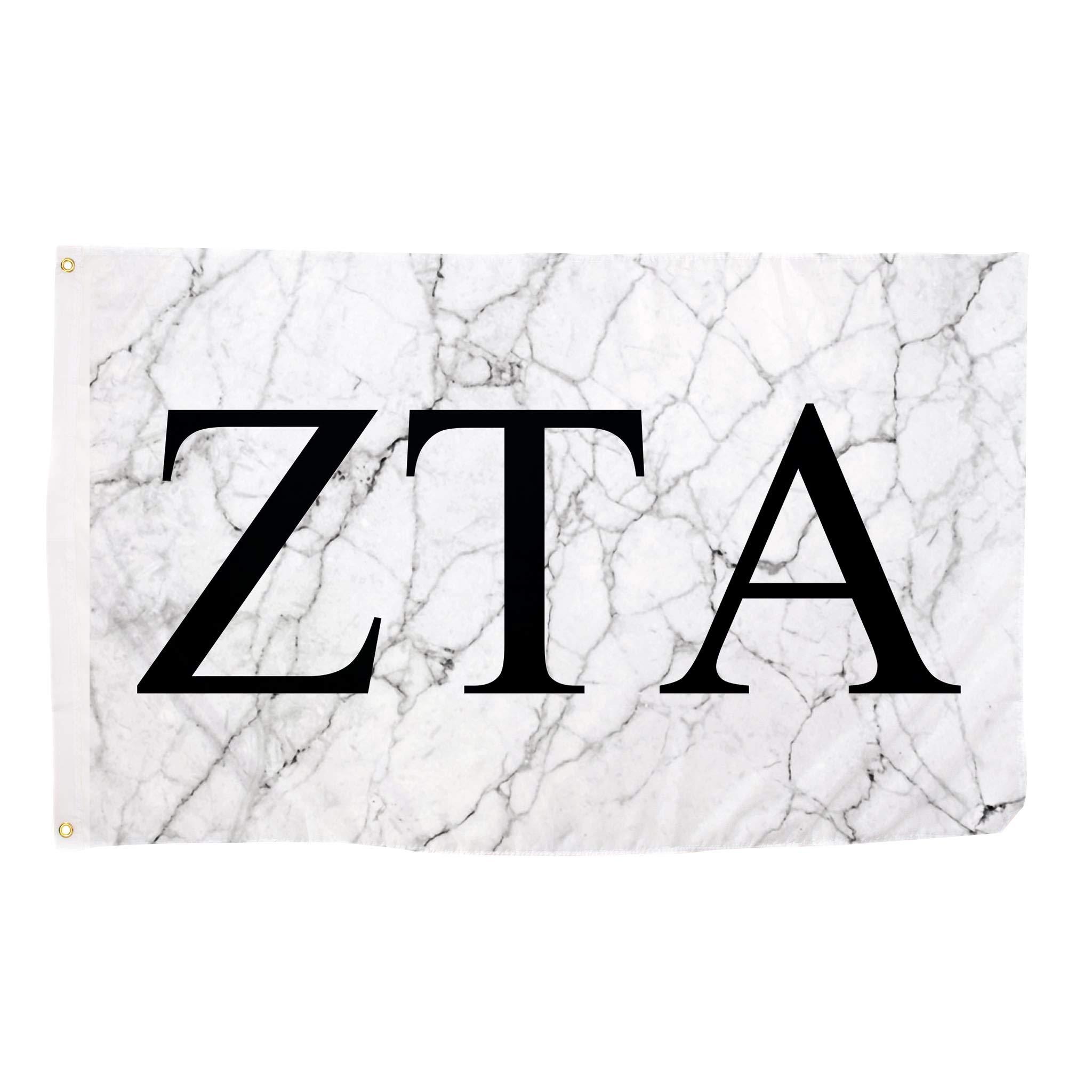 Zeta Tau Alpha ZTA Light Marble Sorority Letter Flag Banner 3 x 5 Sign Decor