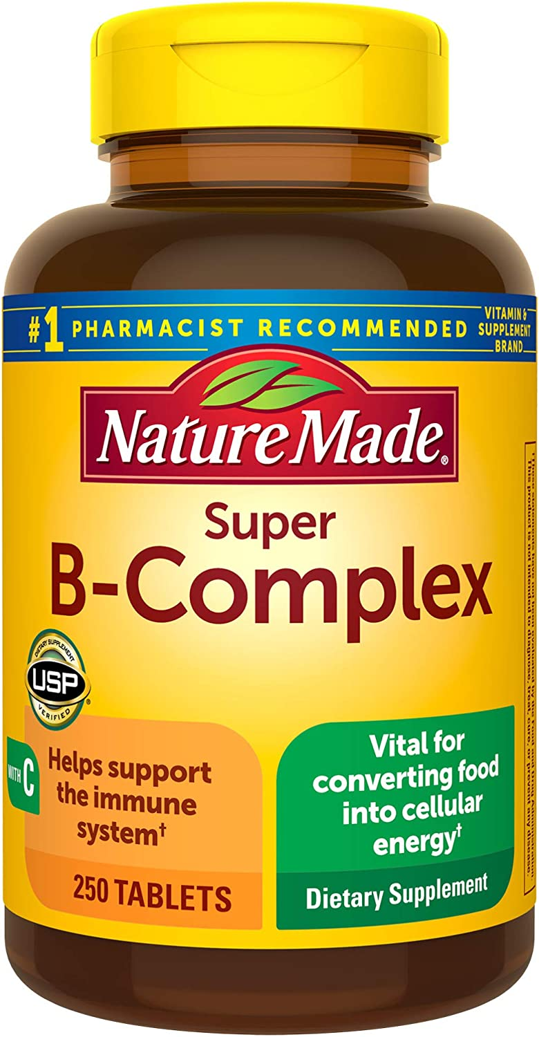 Nature Made Super B-Complex Tablets with Vitamin C, 250 Count for Metabolic Health† (Packaging May Vary)