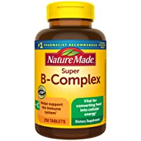 Nature Made Super B-Complex Tablets with Vitamin C, 250 Count for Metabolic Health...