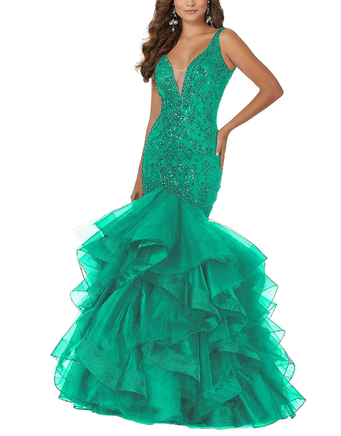 Green Yisha Bello Womens Sequins VNeck Mermaid Prom Gowns Long Tulle Beaded Evening Formal Party Dress