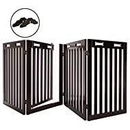 "Arf Pets Free Standing Wood Dog Gate with Walk Through Door, Expandsup to 80"" Wide, 31.5"" High - Bonus Set of Foot Supporters Included - Upgraded 2019 Stronger Model"