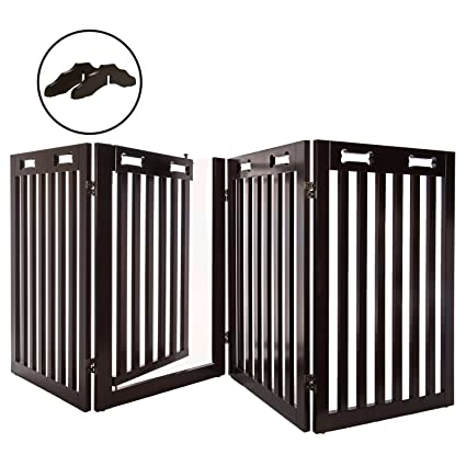 Amazon Com Arf Pets Free Standing Wood Dog Gate With Walk Through
