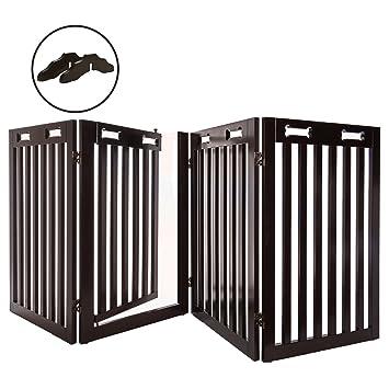 Amazon.com : Arf Pets Free Standing Wood Dog Gate with Walk ...