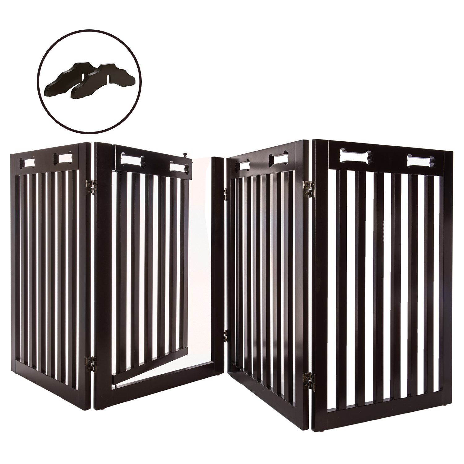 Arf Pets Free Standing Wood Dog Gate with Walk Through Door, Expands Up To 80'' Wide, 31.5'' High - BONUS Set of Foot Supporters Included