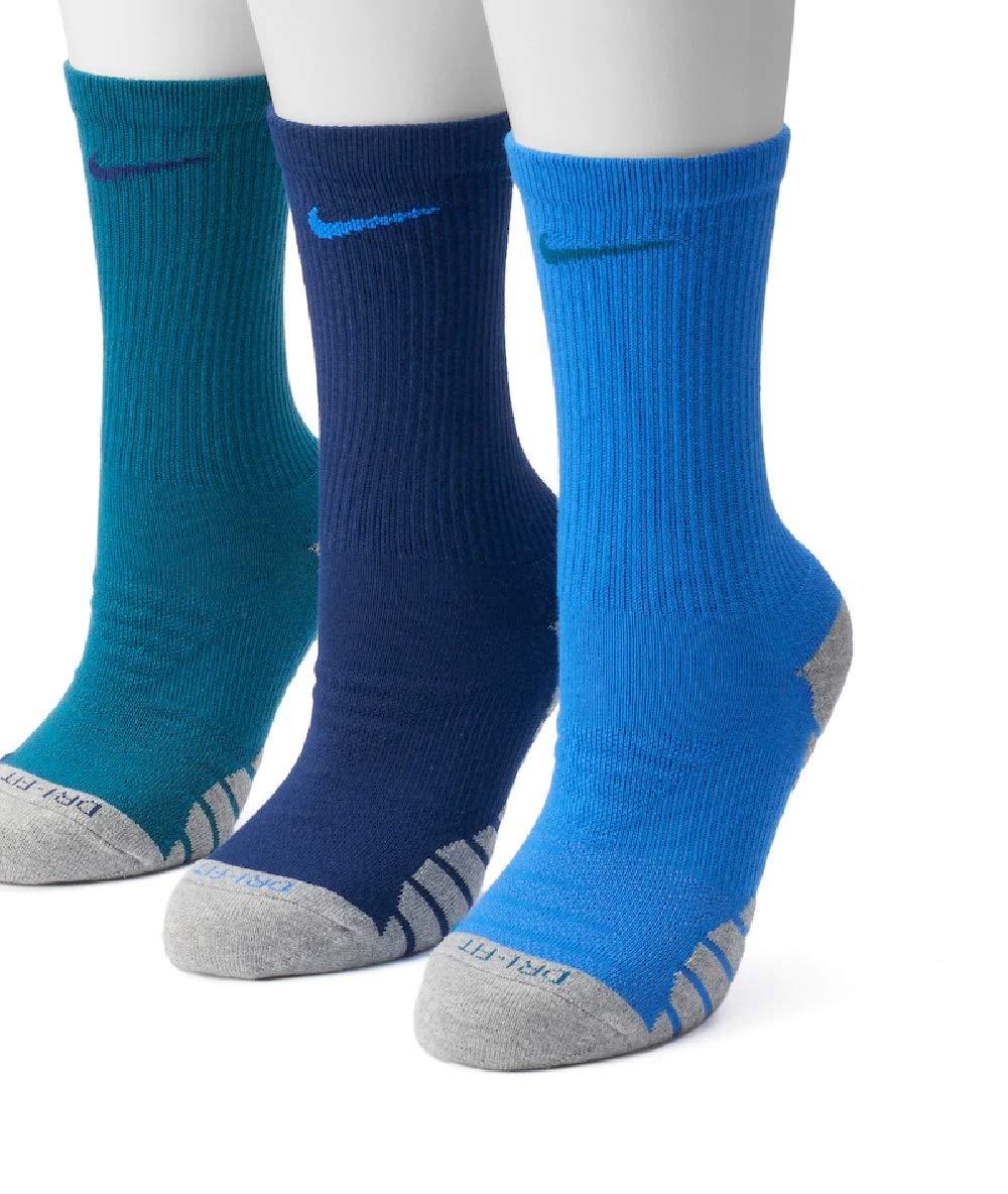 NIKE Women's 3-pk. Dri-Fit Cushioned Crew Socks,Blue,Medium