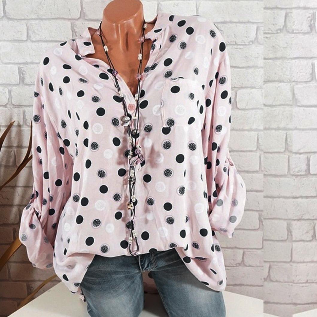 Easytoy Women Loose Tops Ladies Plus Size Dot Print Henley V Neck Long Sleeve Shirts Blouse
