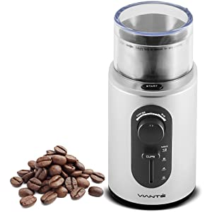 Viante CAF-10 Electric Coffee Bean Grinder. Cup Size and Coarseness Selector, High Power motor. Removable Stainless Steel Cup for easy cleaning, Cord Storage System. Grinds Nuts, Herbs & Grains