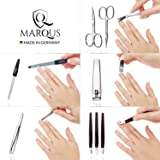 Manicure Set - 12 Piece Professional Pedicure Tools - German Made Nail Kit - Grooming Set - Genuine Leather Case - Ideal Travel Nail Kit - Nail Set - Incl. Nail Cutter - Black