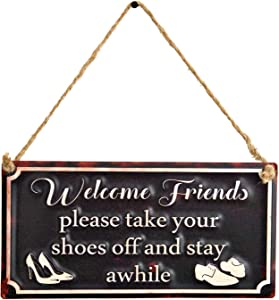"""EMAX HOME Vintage Metal Welcome Friends Door Sign Plaque, Please Take Your Shoes Off and Stay Awhile Wall Decorative Sign Wall Art for Front Door Indoor Outdoor Decor - 12"""" x 6"""""""