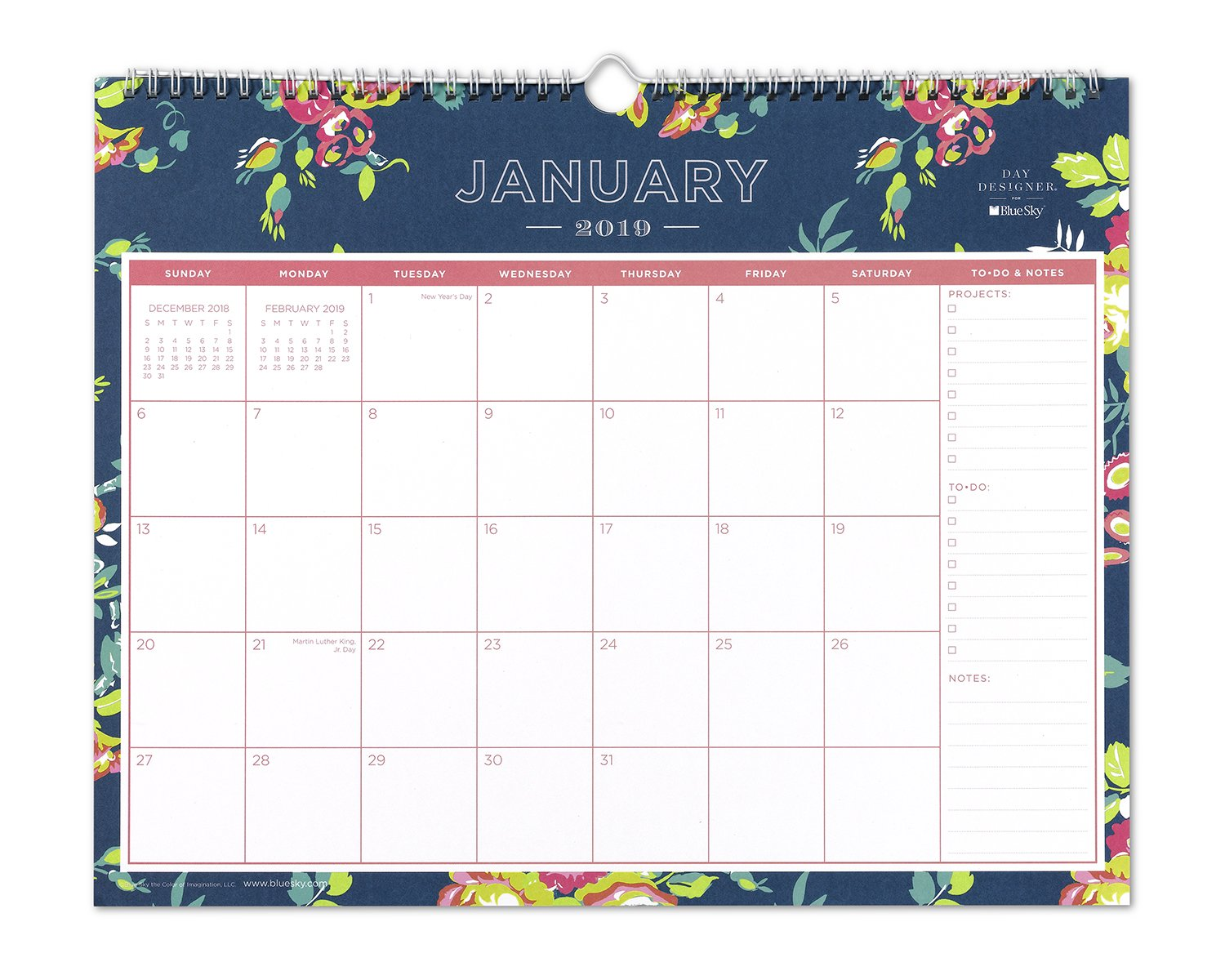 Day Designer for Blue Sky 2019 Monthly Wall Calendar, Twin-Wire Binding, 15'' x 12'', Peyton Navy