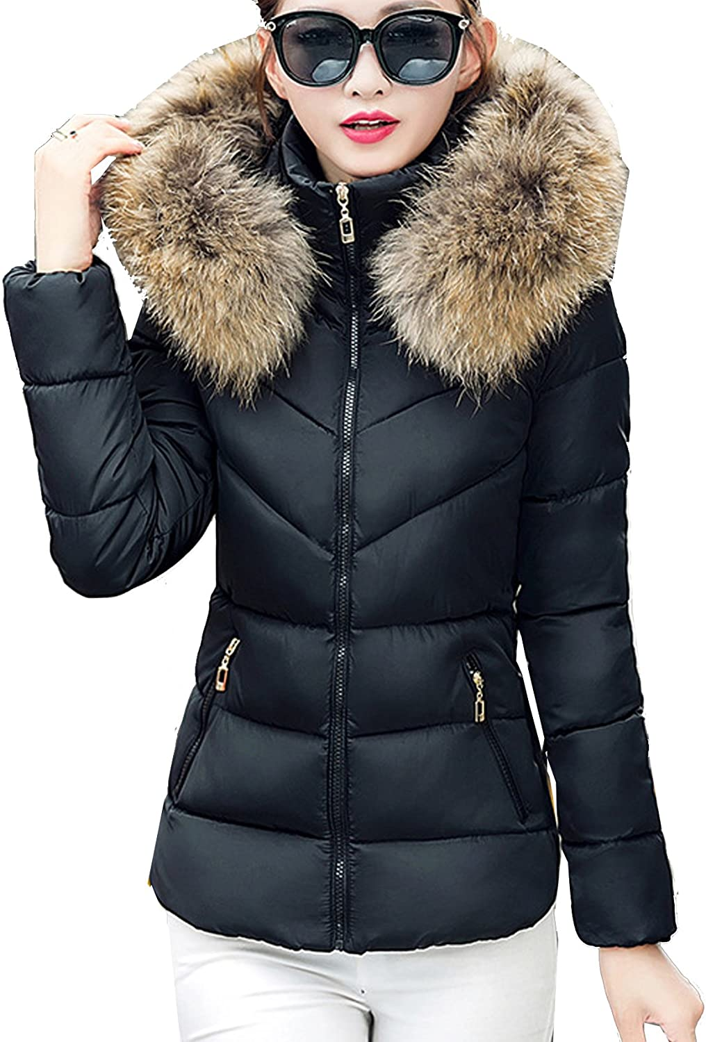 Fubotevic Men Thicken Winter Solid Color Faux Fur Hooded Down Quilted Jacket Coat Outwear
