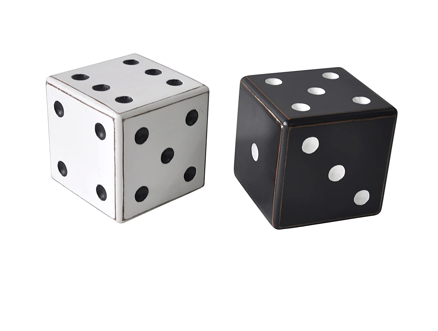 Deco 79 56917 Wooden Dice Table Decor (Set of 2), White/Black