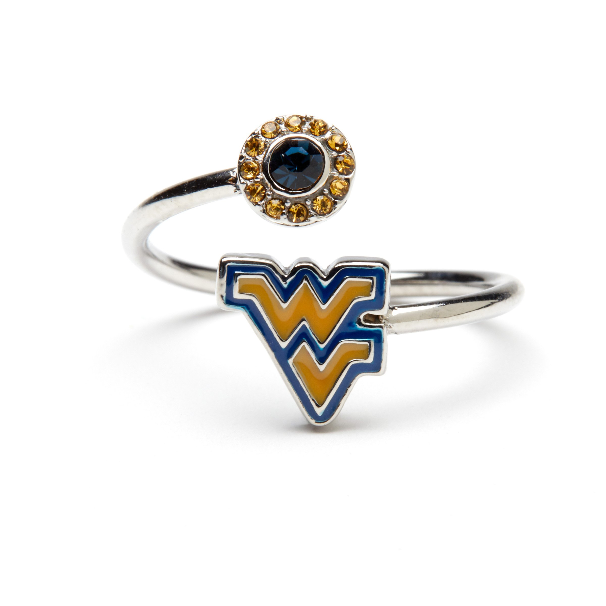 West Virginia University Ring | WVU Mountaineers Ring - Gold and Blue Block WV Ring with Crystals | Officially Licensed West Virginia University Jewelry | WVU Gifts | WVU Jewelry
