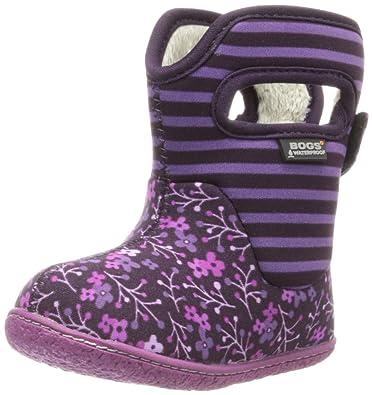 Bogs Baby Classic Flower Stripe Waterproof Insulated Rain Boot(Toddler) ,  Plum, 5