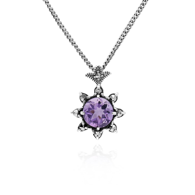 Gemondo Amethyst Necklace, Sterling Silver Amethyst & Marcasite February Art Deco 42cm Necklace