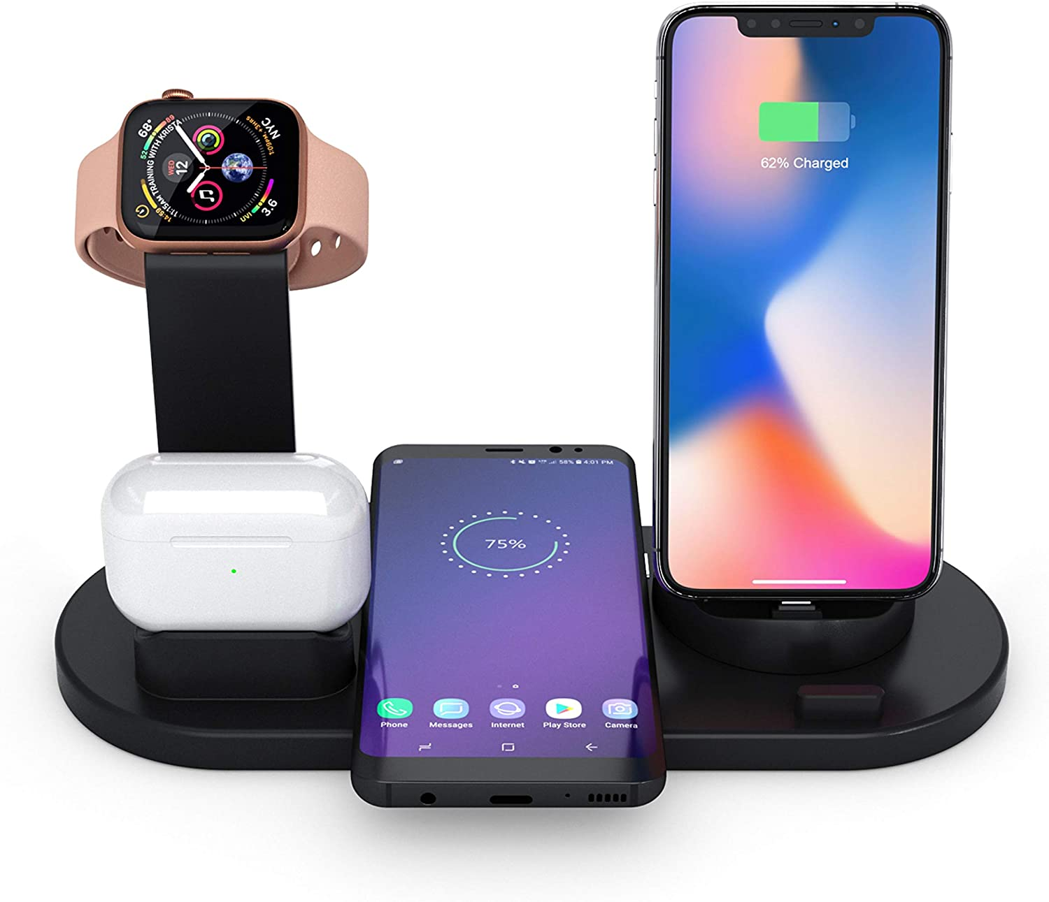 Wireless Charger, Charging Dock Station, Gifts for Boyfriend, 4 in 1 Phone Stand Compatible Apple Watch, Airpods Pro 2, iPhone 11/11pro/X/XS, Samsung Galaxy S20/S10 (QC3.0 & Original Required) Black