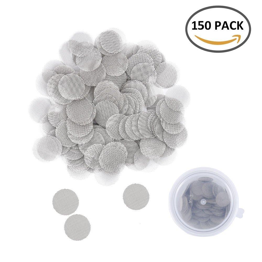 Hootecheu 150Pcs en Acier Inoxydable de Fumer Écrans Ilters Tuyau avec Boîte de Rangement Premium Gaze 15mm