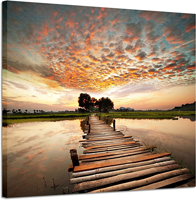 "Seascape Artworks Wall decor Pictures - Ocean Pier in sunset stunning with Yellowish cloud Beach Sky and Wooden Bridge to Sea Shower, Dock Landscape Graphic Art Print on C (24"" x 18"", Golden Painting)"