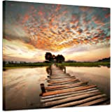 Hardy Gallery Landscape Artworks Pictures Wall Art: Stairway to Heaven's Sunset Stunning Lake Bridge Print on Canvas for Livi