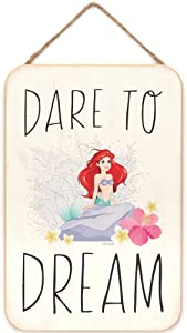 Open Road Brands Disney Princess The Little Mermaid - Ariel Dare to Dream Hanging Wood Wall Decor for Kids' Room, Play Room, Bedroom, or Movie Room
