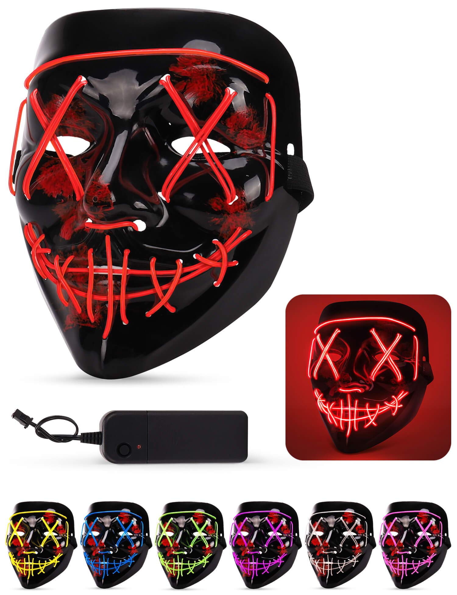 Lizber Halloween Mask, Led Light Up Mask with Neon Wires, Adjustable Scary Masquerade Glow Mask for Festivals, Parties, Carnivals and Raves, Glowing Mask for Men, Women, Kids, Jacinth Red by Lizber